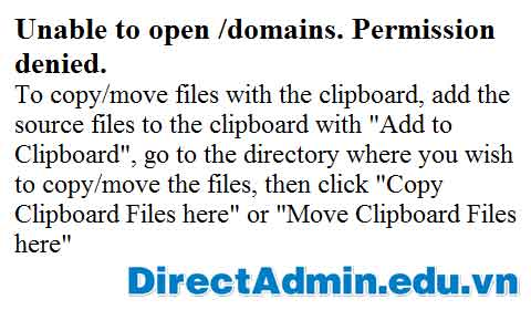 Unable to open /domains. Permission denied