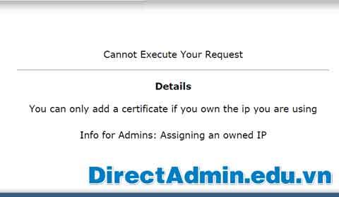 Sửa lỗi Cannot Execute Your Request khi cài đặt SSL