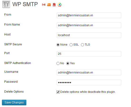 Sử dụng mail hosting WP SMTP