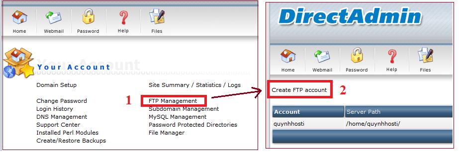 Hướng dẫn tạo FTP trong Directadmin (FTP Management) FTP Management, Create Directadmin FTP account, tạo FTP, tạo tài khoản FTP