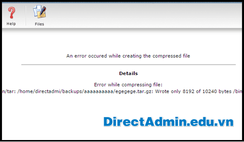 An error occured while creating the compressed file. Details: Error while compressing file