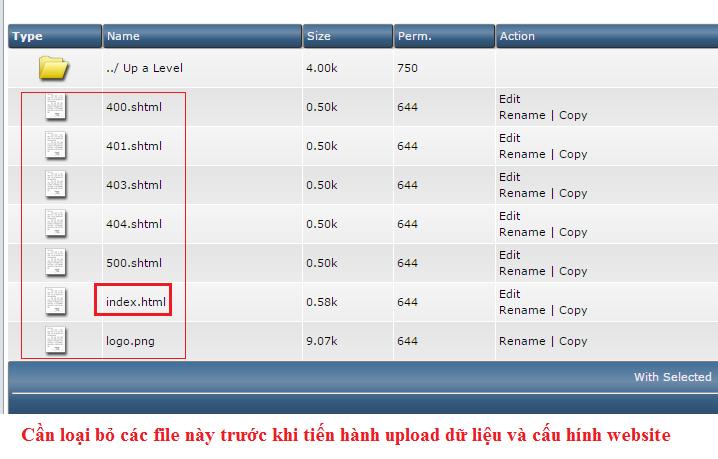 Xóa File mặc định trên Hosting Direct Admin