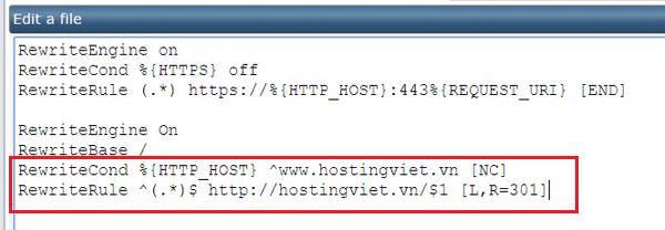 Hướng dẫn cách direct domain www sang non-www giao thức https bằng file .htaccess