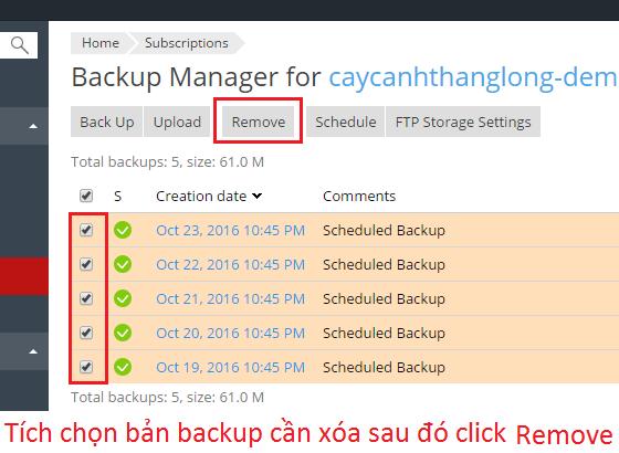Xóa bớt dữ liệu khi dung lượng đầy do quá nhiều bản backup
