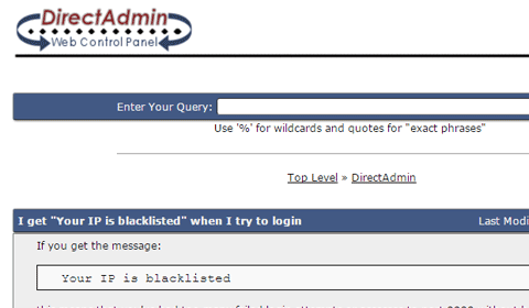 Your IP is blacklisted DirectAdmin
