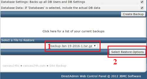 Select a File to Restore - Chọn File cần backup