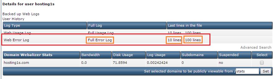 Web Error Log, Backed up Web, Logs User History, Site Summary Statistics Logs. Cách check log lỗi truy cập website trong Direct Admin - Web Error Log