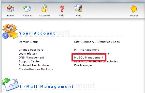 Click MySQL Management