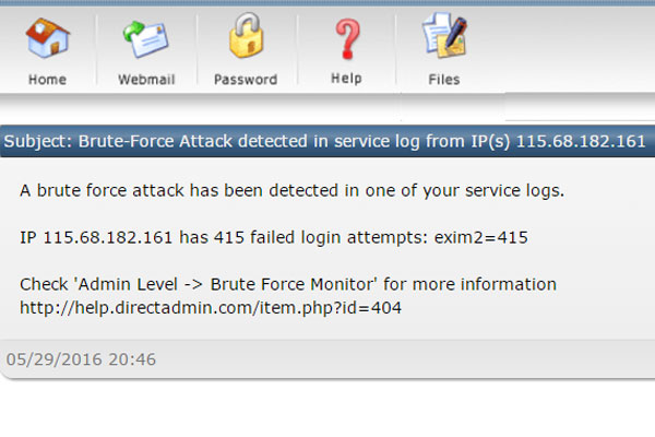 Cảnh báo này là gì? Brute-Force Attack detected in service log from IP(s)...