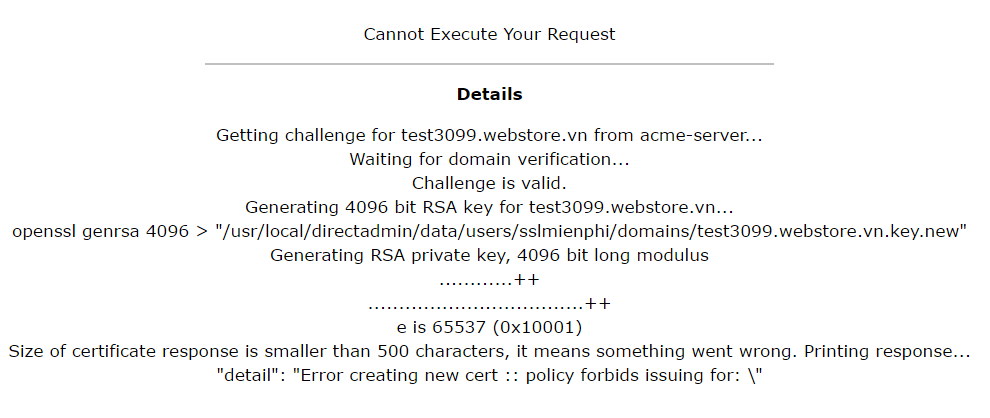 Nguyên nhân và cách khắc phục lỗi ''Cannot Execute Your Request'' khi cài Free & automatic certificate from Let's Encrypt